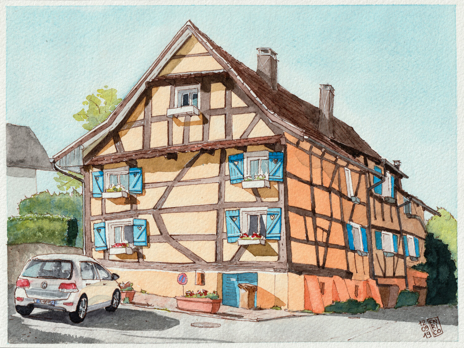 I took a bike trip in Alsace, just over the border from Basel. The houses there are very nice.