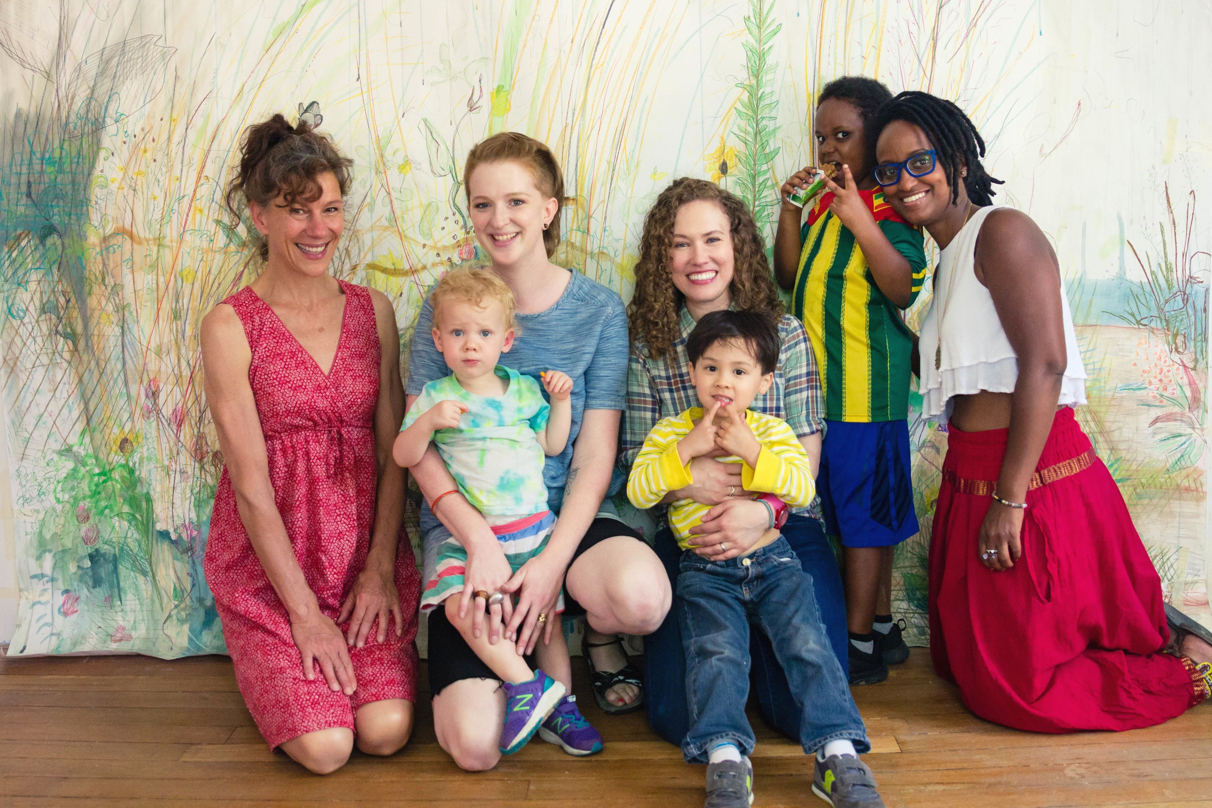 Participants of AMS at Rhizome: Diane Tyburski (childcare provider), Amy Hughes Braden and Quincy, Mariah Anne Johnson and Jeff Allan, Tsedaye Makonnen and Senai    Image credit: Leila Habib