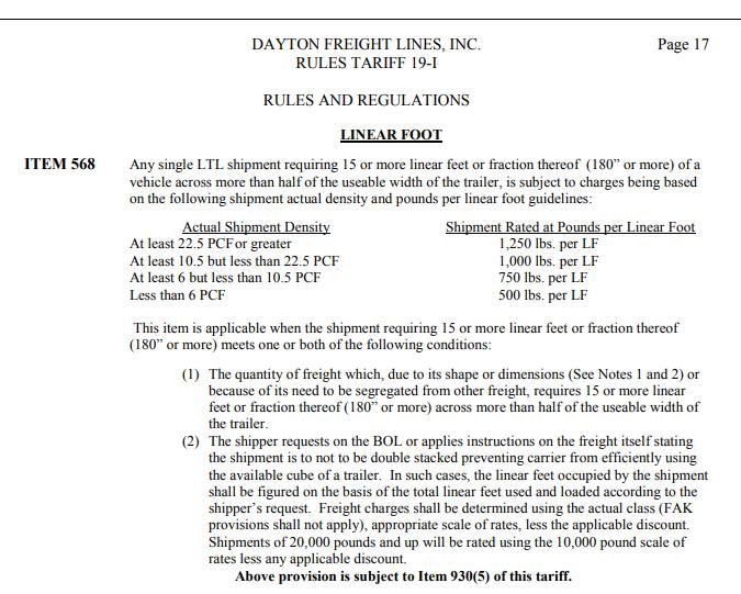 Regional carrier Linear Foot Rules: Dayton Freight