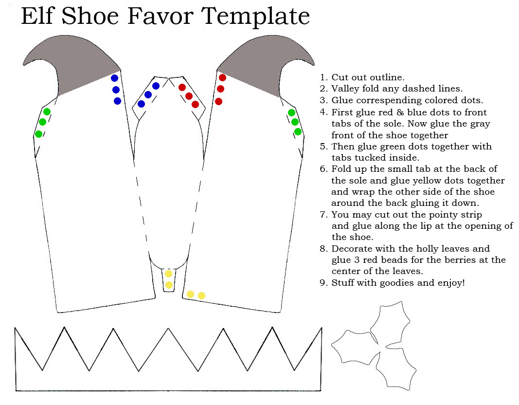 Elf Shoe Favor Template