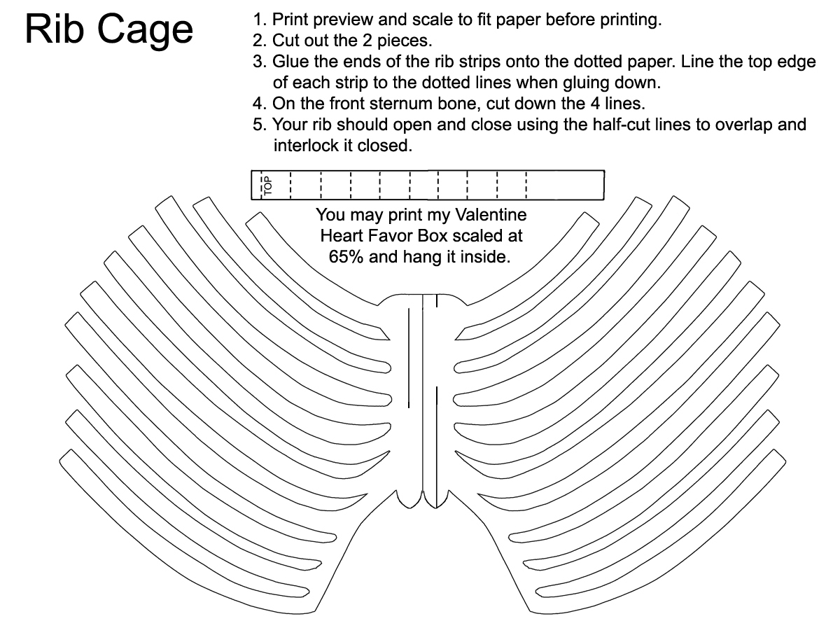 Rib Cage Favor Template