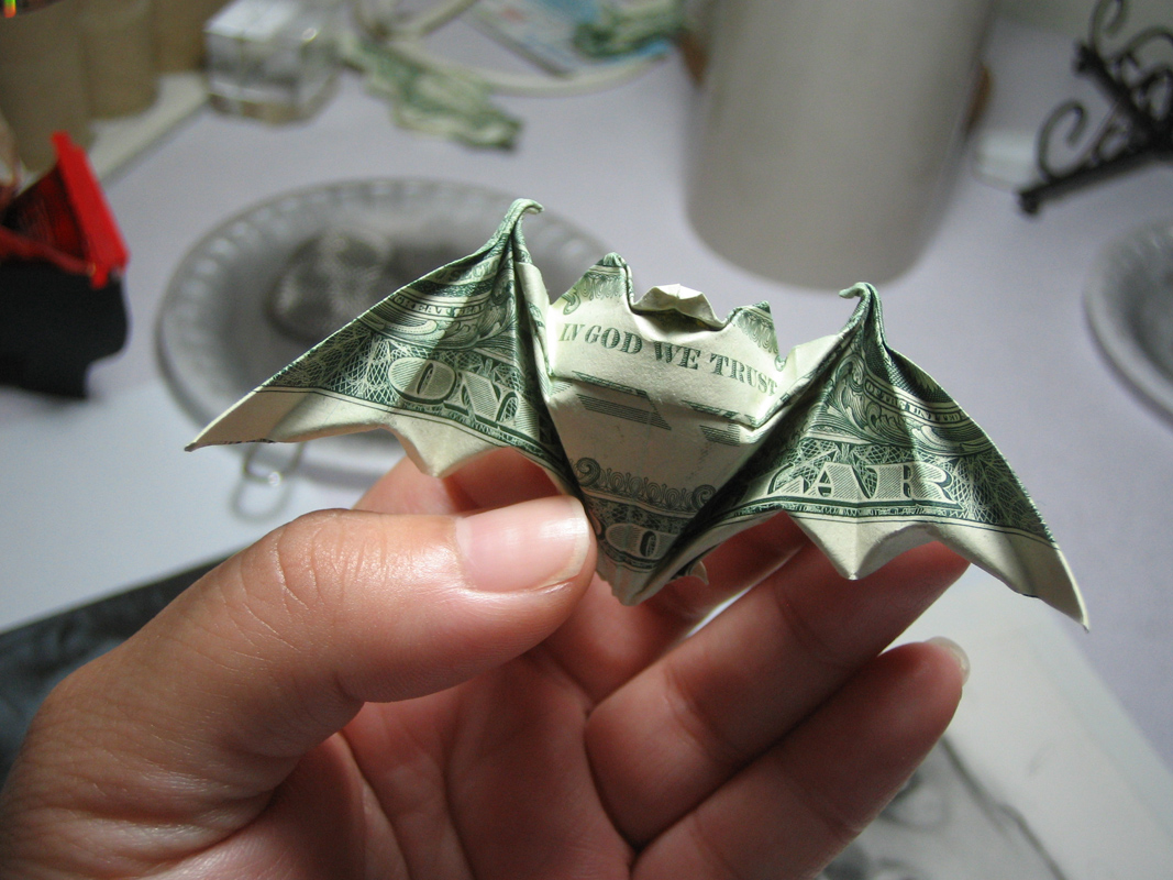 Lucky Bat Dollar Bill Origami Moneygami