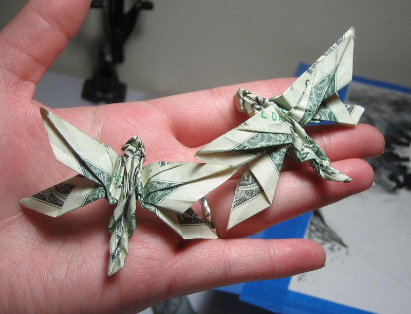 Dragonfly Dollar Bill Origami Moneygami