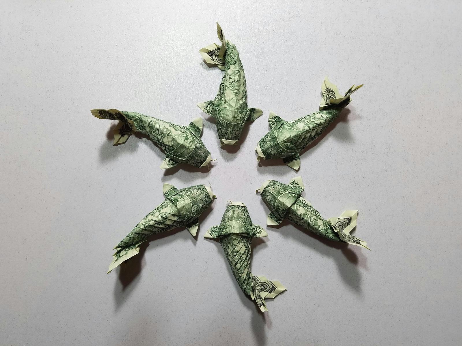 Koi Fish Dollar Bill Origami Moneygami