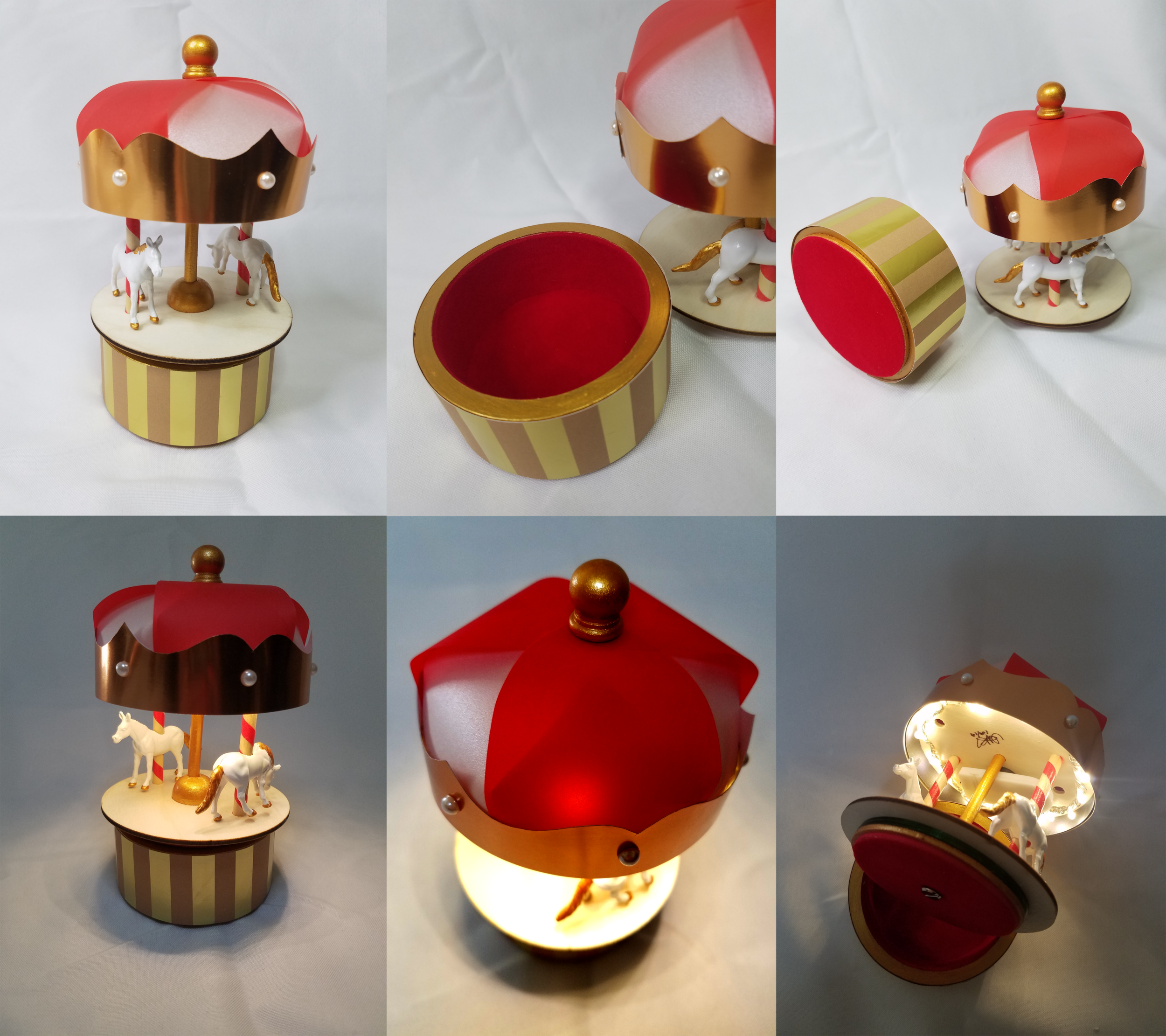 Carousel Rotating Night Light Box Favor