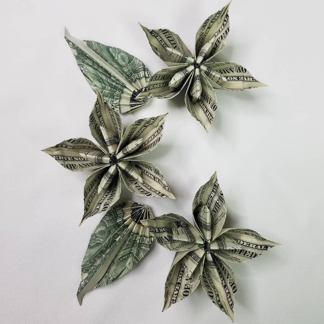 Flower and Leaf Dollar Bill Origami Moneygami