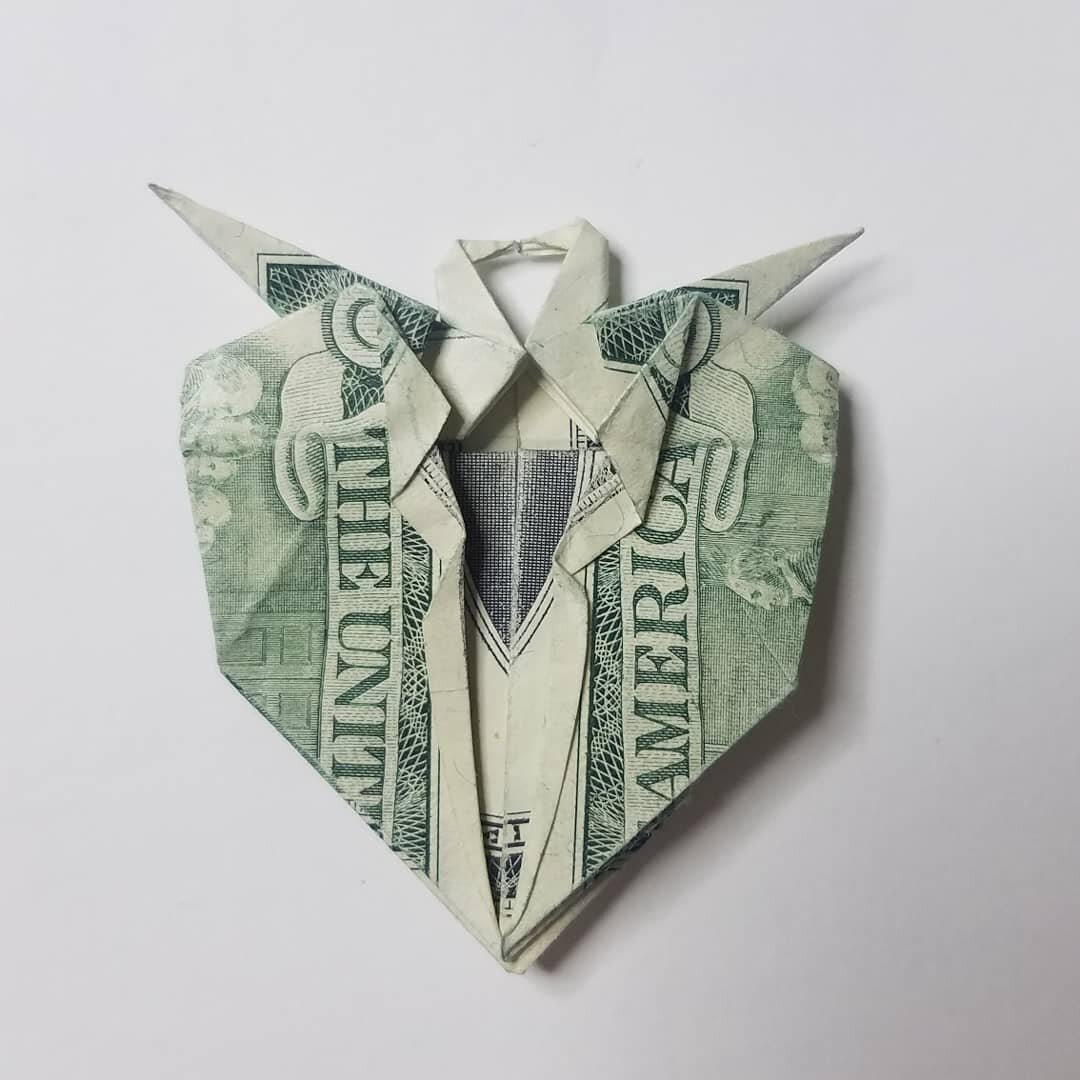 Double Swan Heart Dollar Bill Origami Moneygami