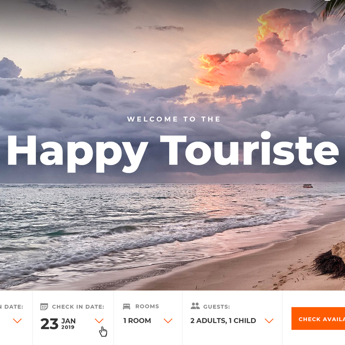 Happy Touriste - Travel Tourism Hotel Booking PSD Template