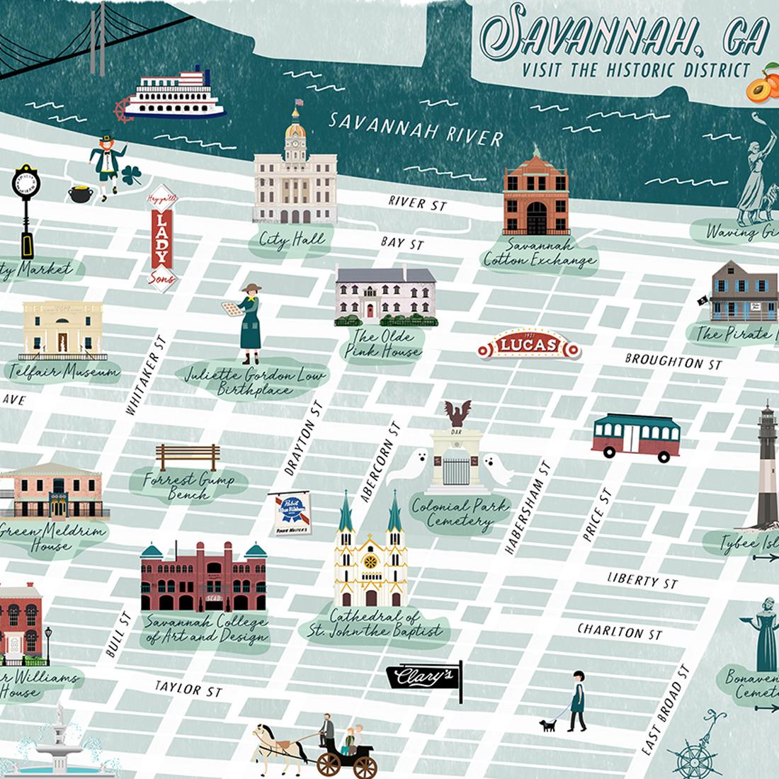Savannah Historic District Illustrated Map
