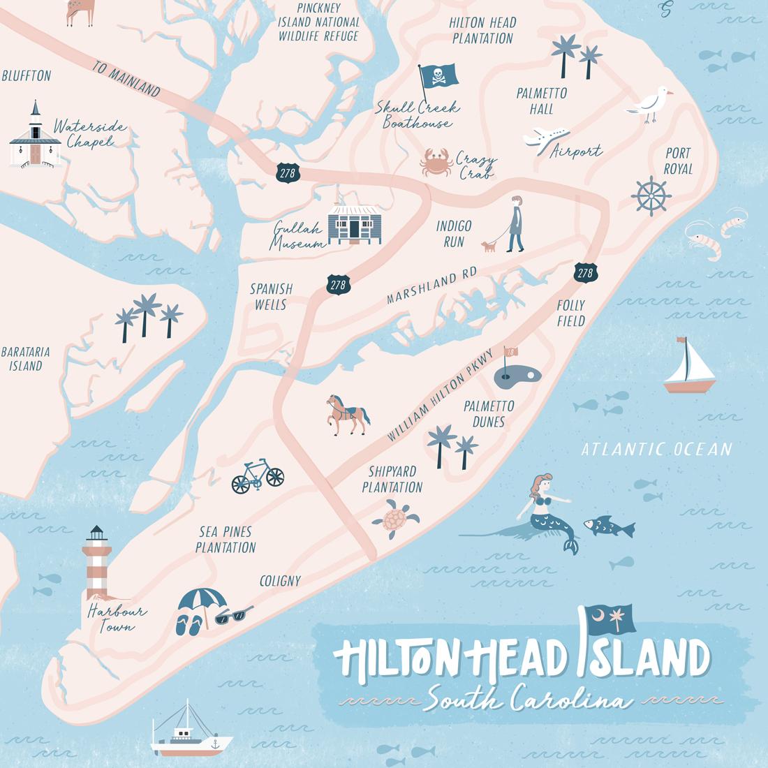 Hilton Head Island Illustrated Map