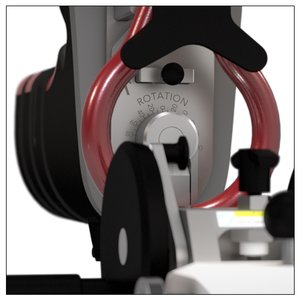 The PURIST rotation function allows up to 180 degrees of external rotation in increments of 10 degrees. The black pin within the red handle is a boot quick connect, allowing for swift range-of-motion testing and simple patient setup.
