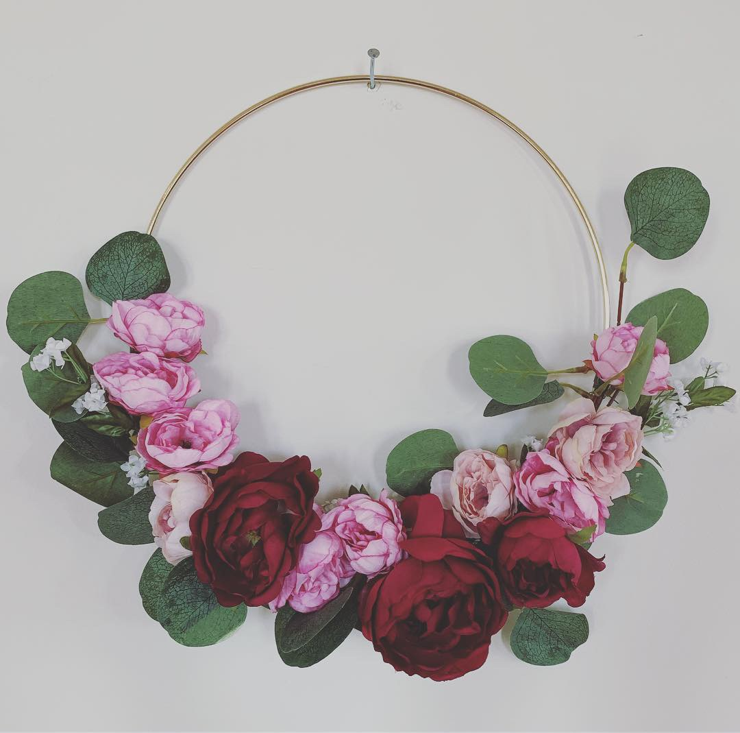 Metal & Floral Wreath - $25.00You will receive a 12 inch gold ring and access to our floral and greenery bar to select the perfect combination for your wreath.Instructions will be given on how to attach your selections to the ring.Enrollment is limited to 15 per class. Please head to PAYMENTS page to register!