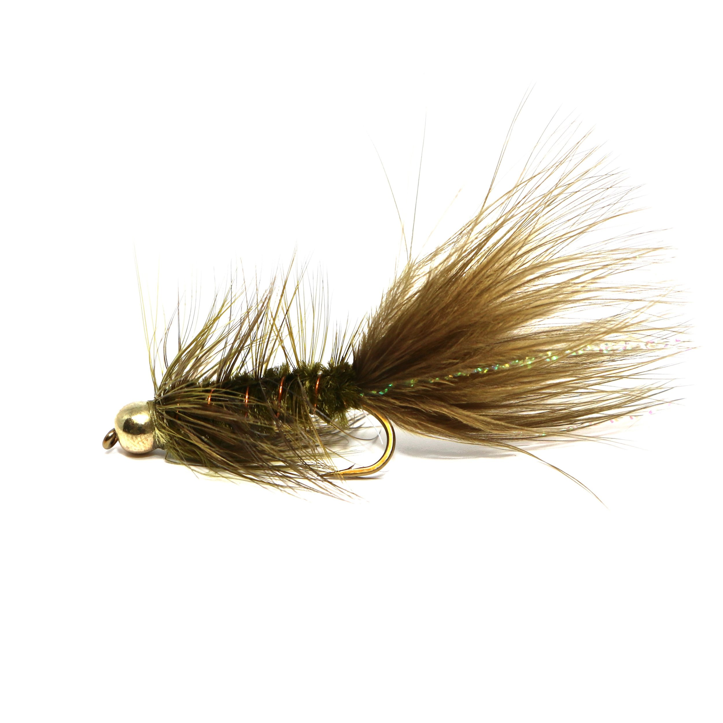 Olive BH Falshabou Bugger:  https://ironbowflyshop.ca/collections/flies/products/bh-flash-a-bugger