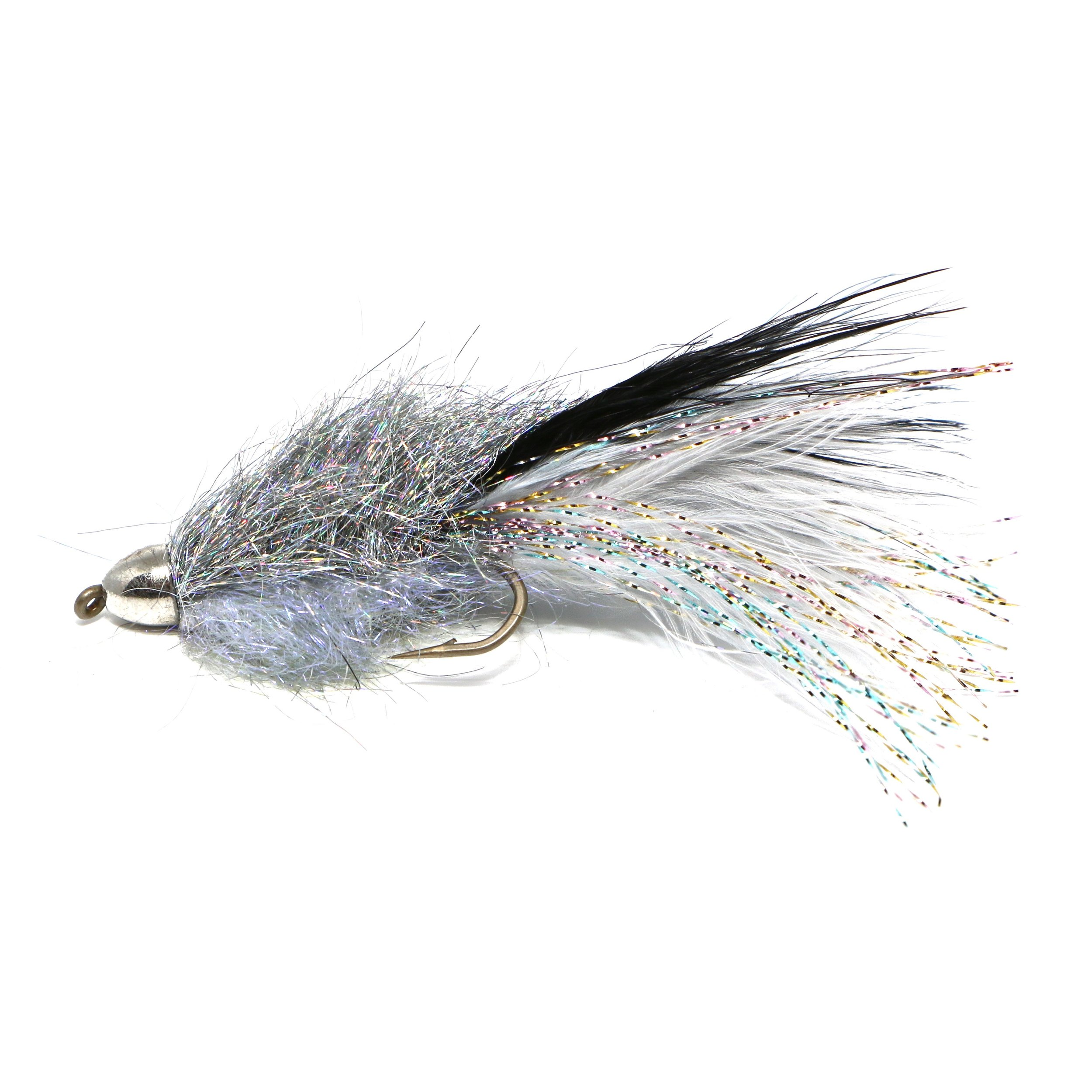 Coffey's Cone Head Sparkle Minnow Smoke:  https://ironbowflyshop.ca/products/coffeys-ch-sparkle-minnow