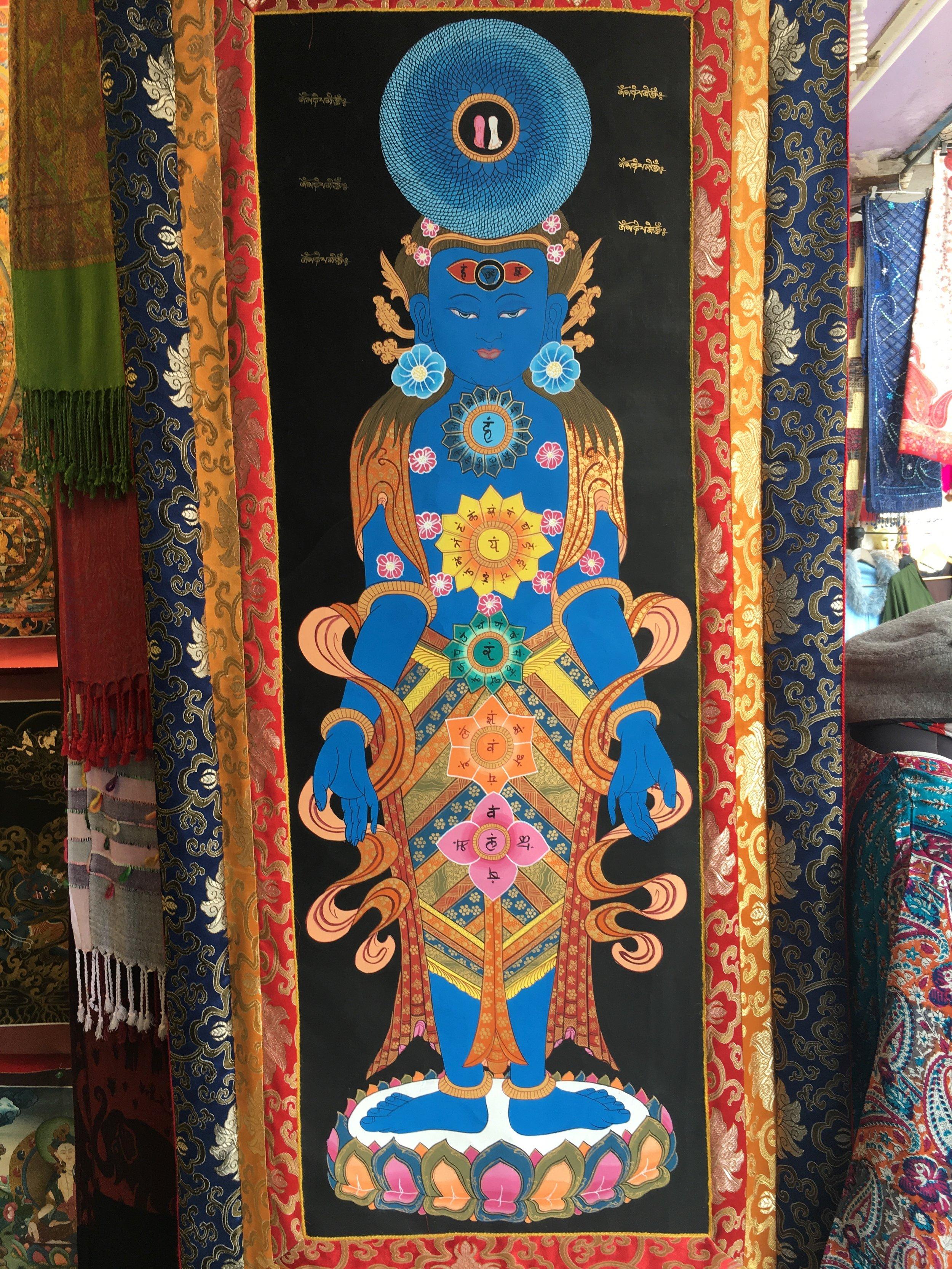 A Tibetan Thangka/tapestry representation of the 7 yogic chakras in McLeod Ganj, India