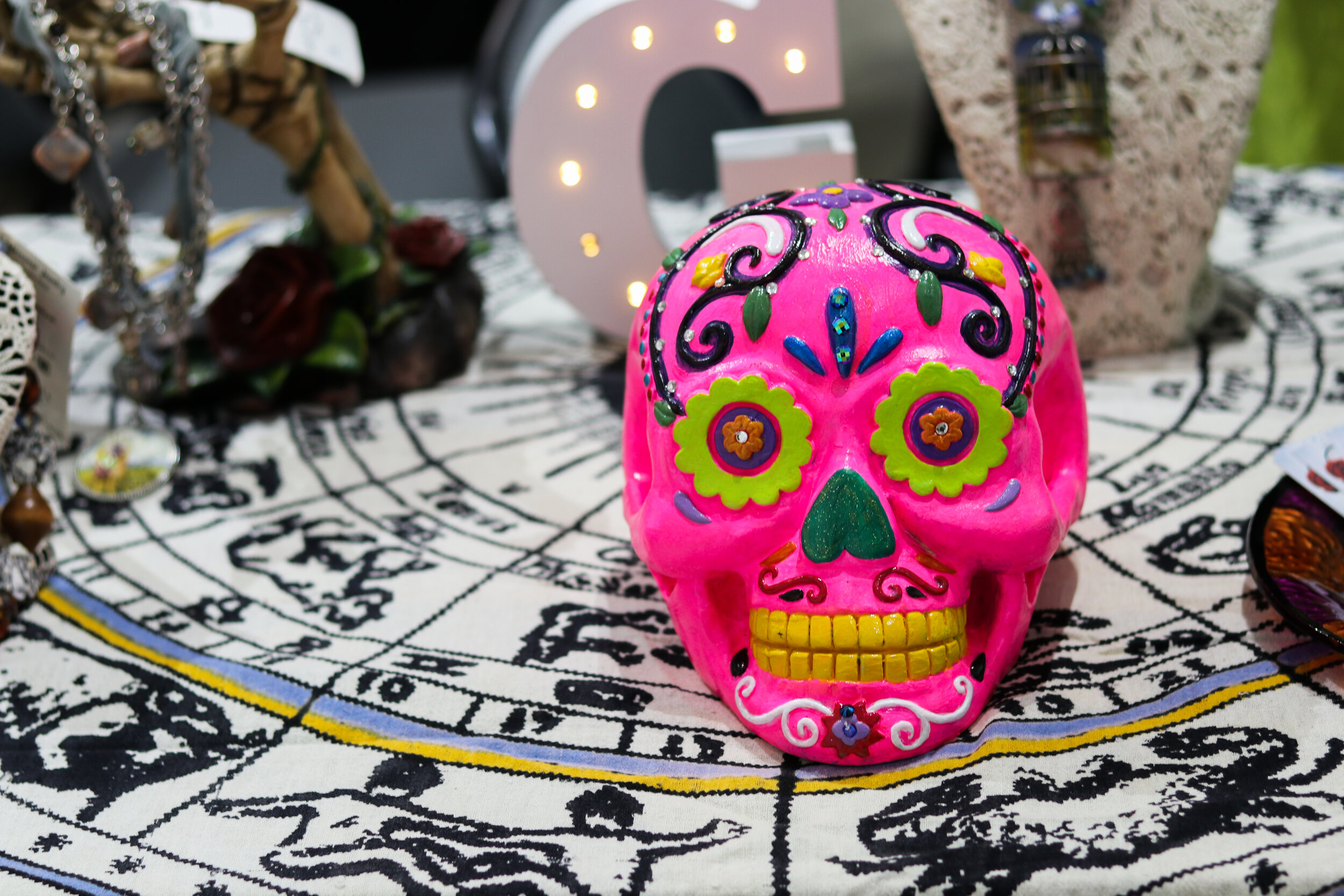 Painted Skull from at altar at the 2018 Art Crawl. | Photo by 40 West Arts