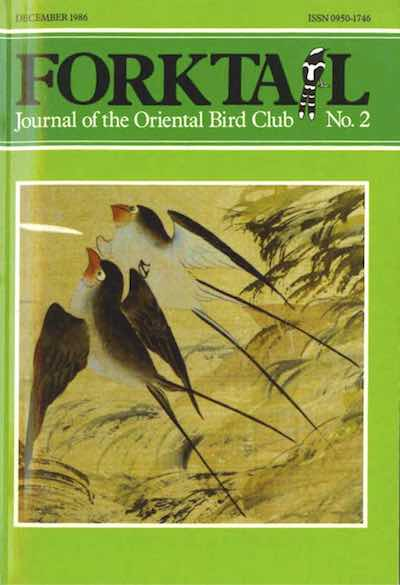 Birdingasia 2 - Forktail is the Journal of Asian Ornithology published by Oriental Bird Club once a year and distributed to OBC members. In line with OBC Policy, papers are made freely available on the website three years after publication. Prior to this, these issues can be purchased as electronic downloads, or hard copies of most issues can be ordered from our online store.Forktail 2 hard copies are SOLD OUT