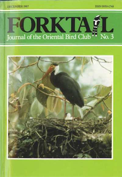 Forktail 3 - Forktail is the Journal of Asian Ornithology published by Oriental Bird Club once a year and distributed to OBC members. In line with OBC Policy, papers are made freely available on the website three years after publication. Prior to this, these issues can be purchased as electronic downloads, or hard copies of most issues can be ordered from our online store.Forktail 3 hard copies are SOLD OUT