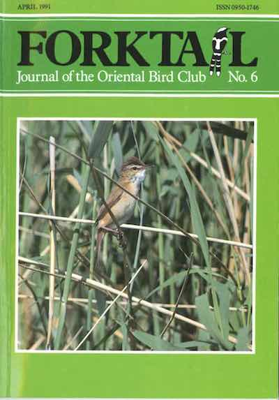 Forktail 6 - Forktail is the Journal of Asian Ornithology published by Oriental Bird Club once a year and distributed to OBC members. In line with OBC Policy, papers are made freely available on the website three years after publication. Prior to this, these issues can be purchased as electronic downloads, or hard copies of most issues can be ordered from our online store.