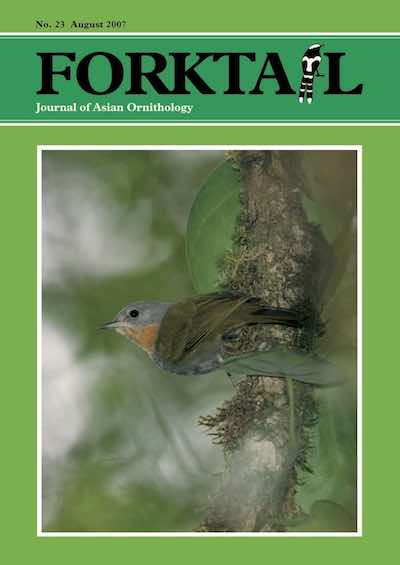 Forktail 23 - Forktail is the Journal of Asian Ornithology published by Oriental Bird Club once a year and distributed to OBC members. In line with OBC Policy, papers are made freely available on the website three years after publication. Prior to this, these issues can be purchased as electronic downloads, or hard copies of most issues can be ordered from our online store.
