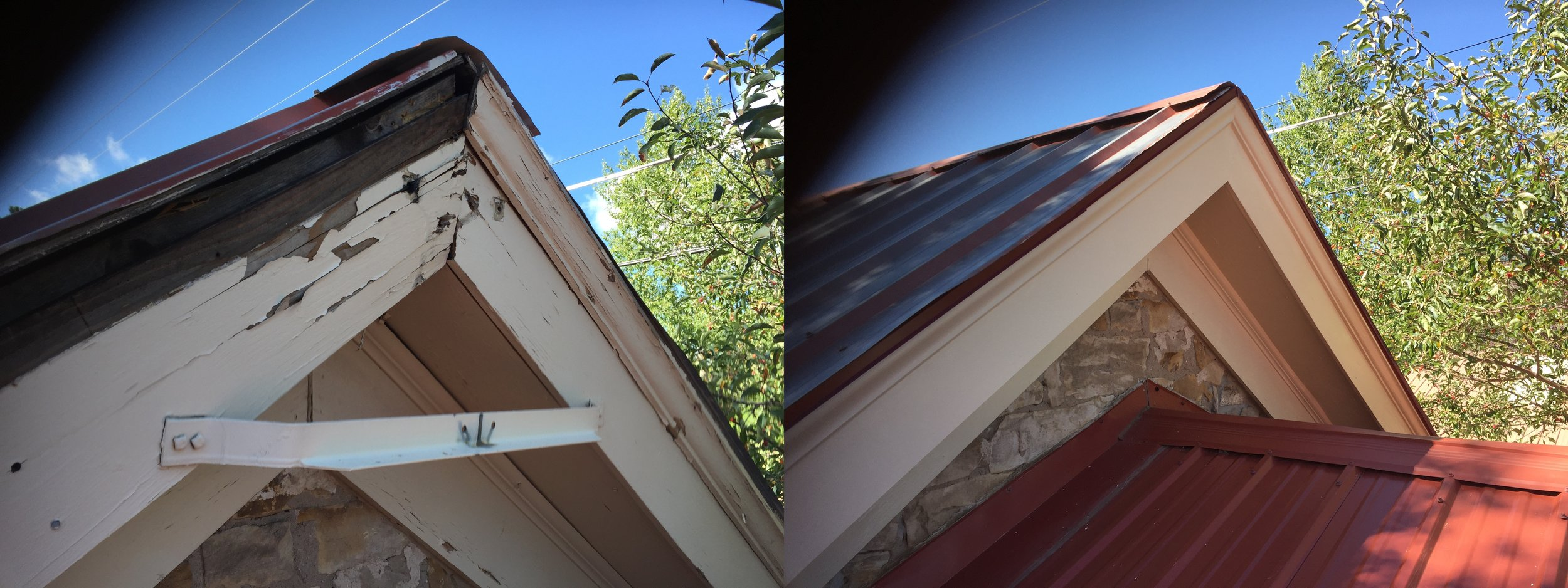 Before and after gable roof damage