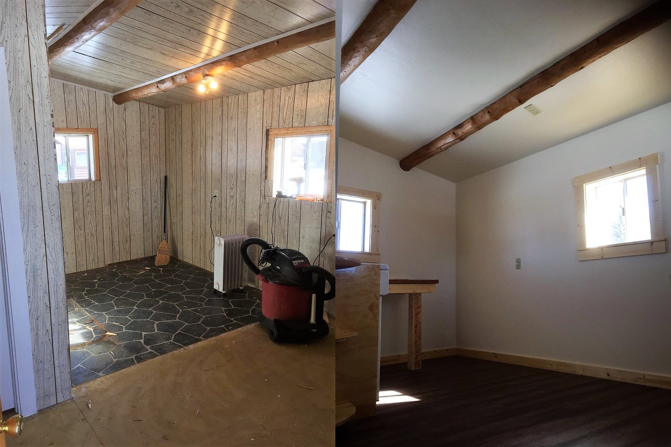 Before and after of cabin remodel