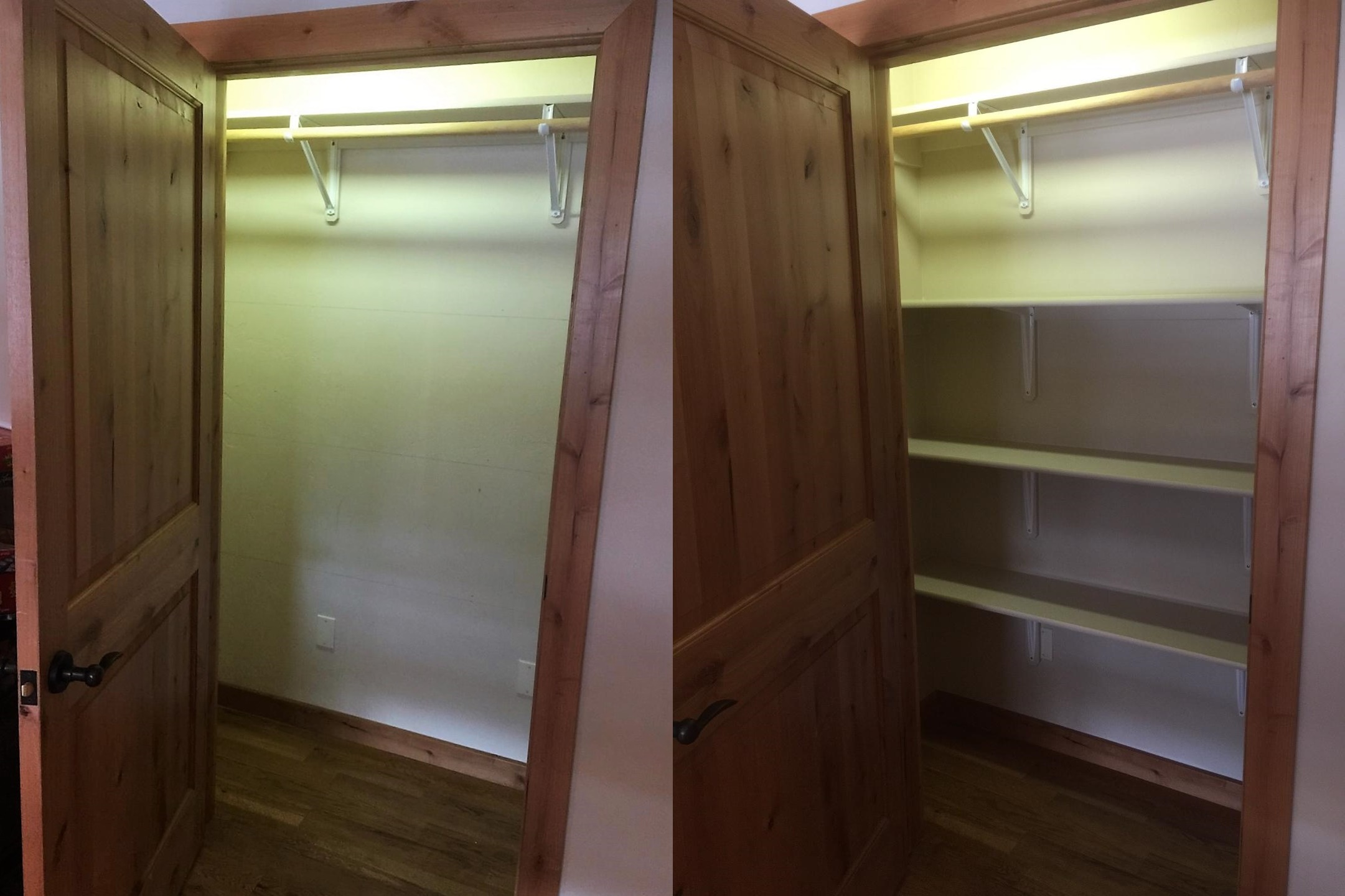 Before and after closet shelves