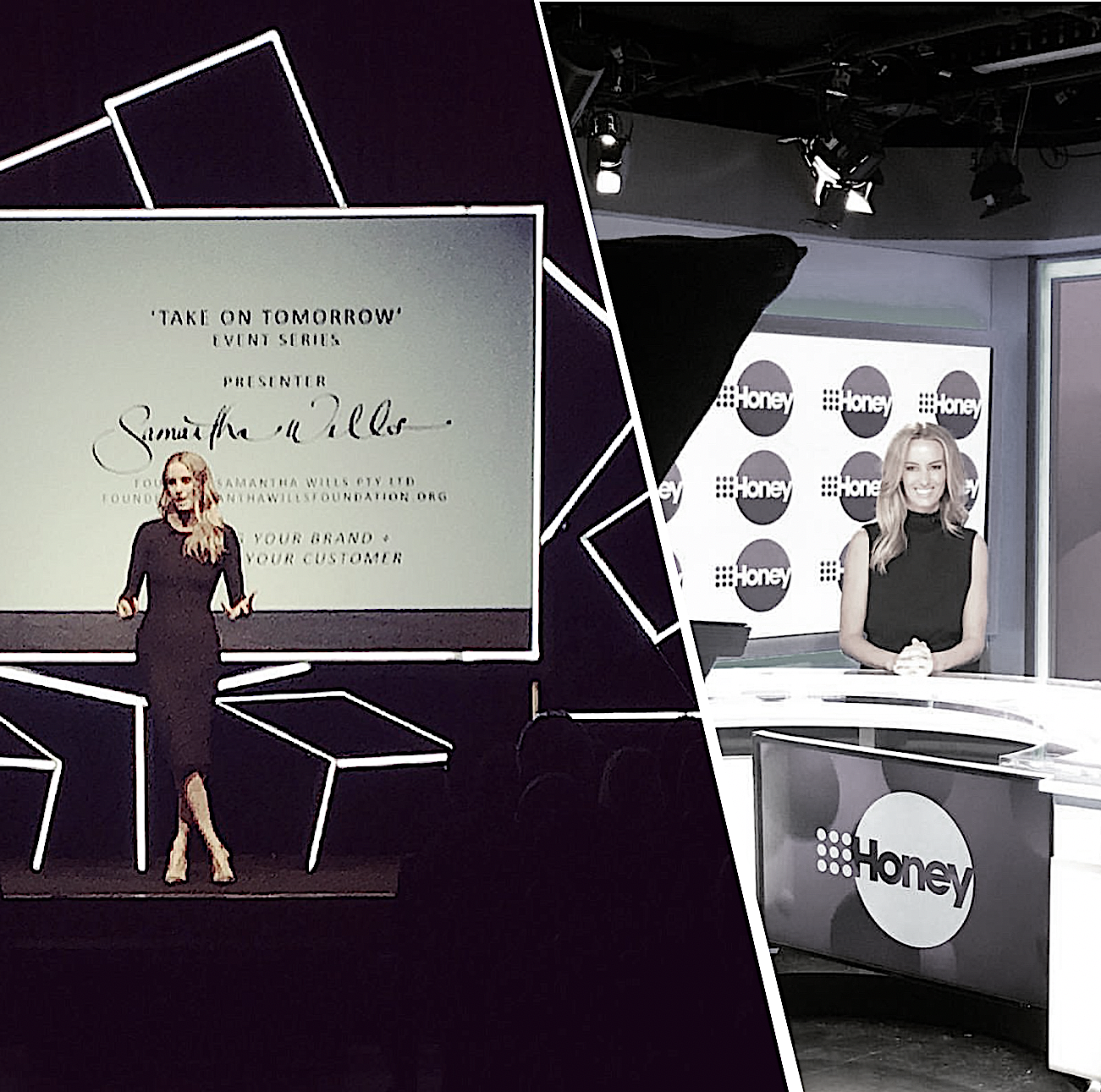 SAMANTHA WILLS:  LEFT,  Presenting the Keynote for WESTPAC Business Clients.  RIGHT , Talking business and branding on NINE Honey.