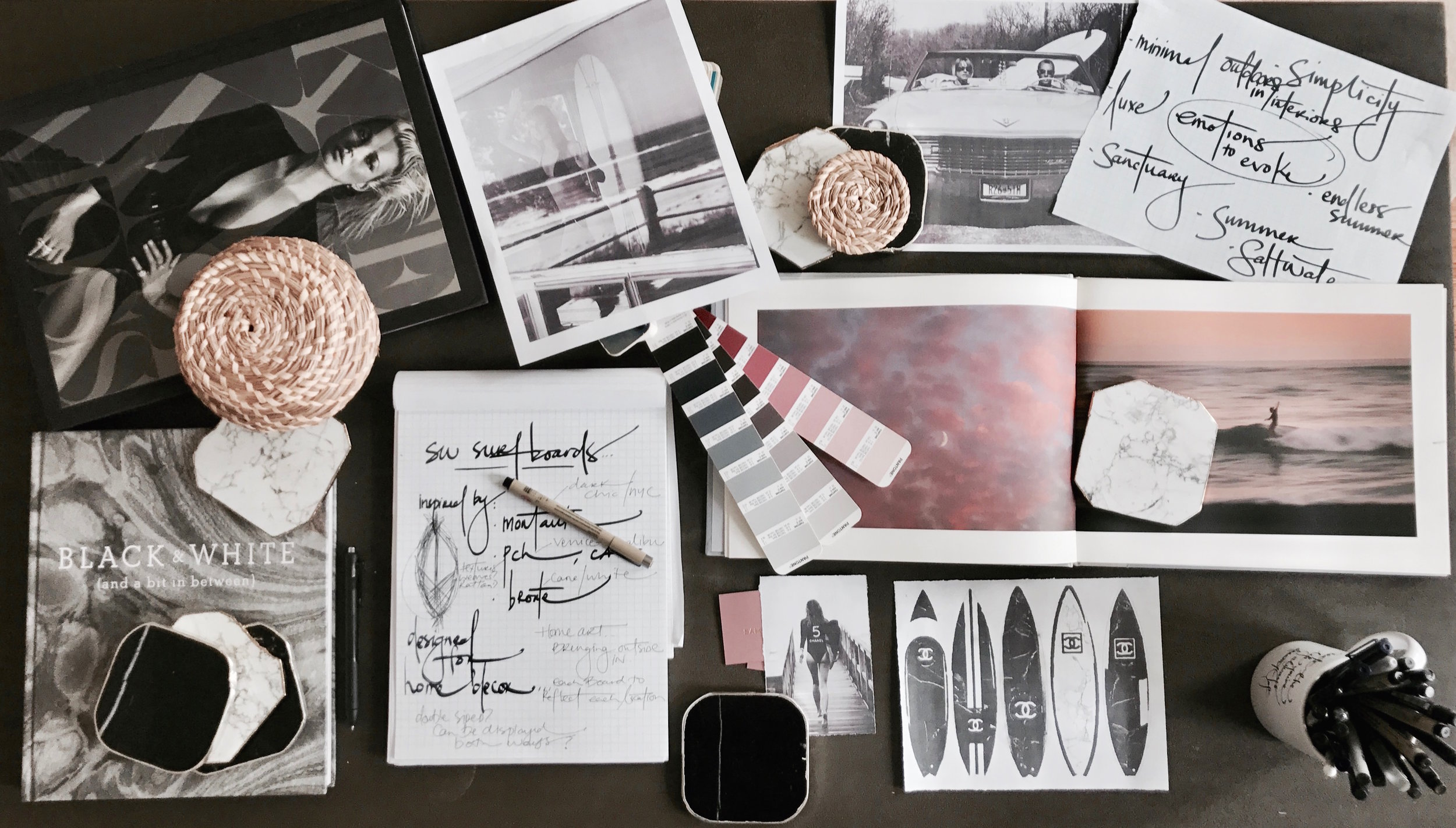 Moodboards and Pantone swatches while creating the ÉTÉ SANS FIN surfboard series.