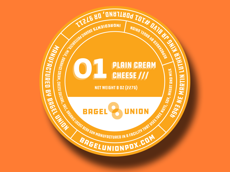 Packaging Design - In additional to fresh bagels, Bagel Union sells a variety of cream cheeses to go for their market customers.We created a striking, geometric label that incorporated all of the legal requirements for packaging along with brand-specific visuals and colors.
