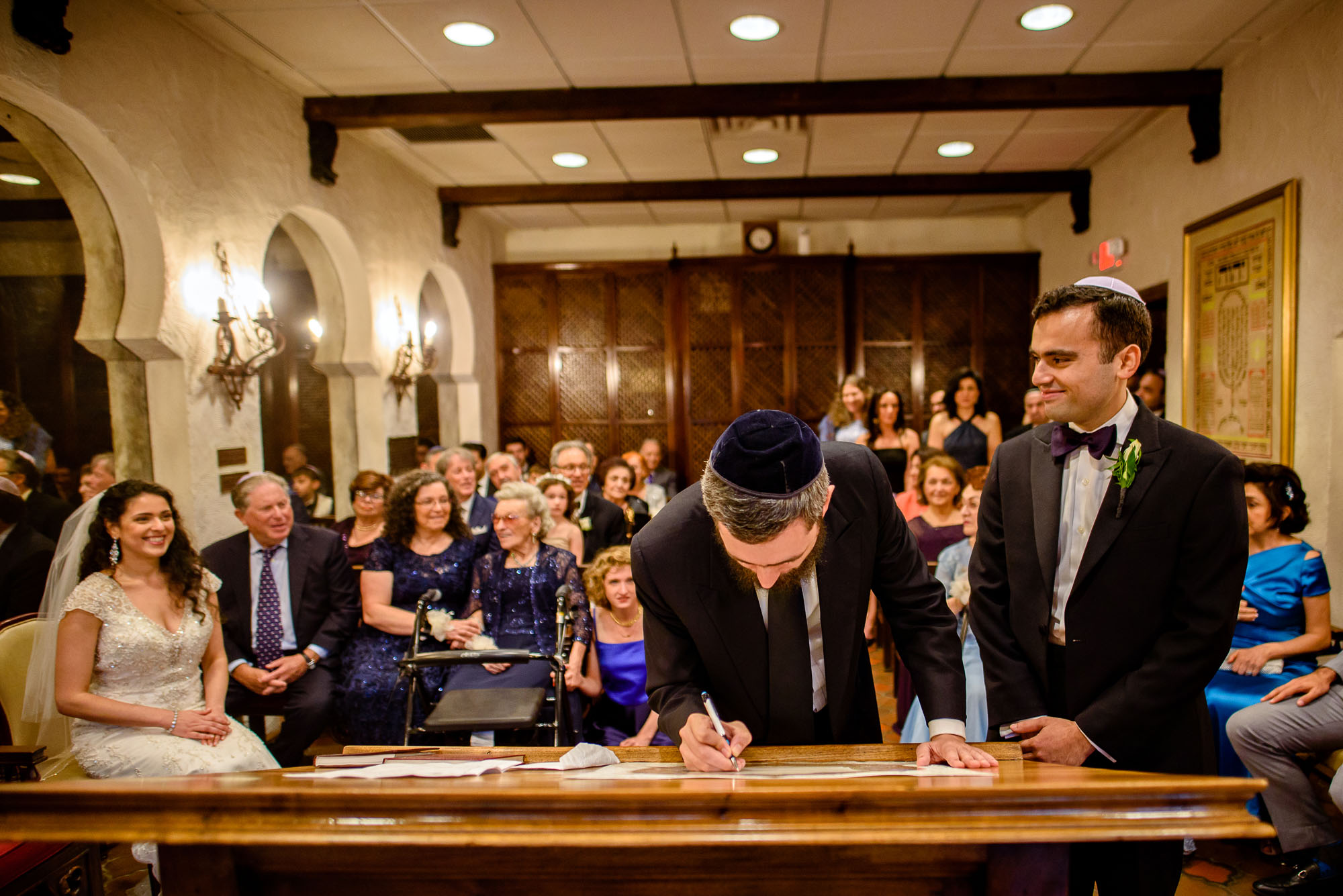 The Sephardic Temple wedding Ketubah signing