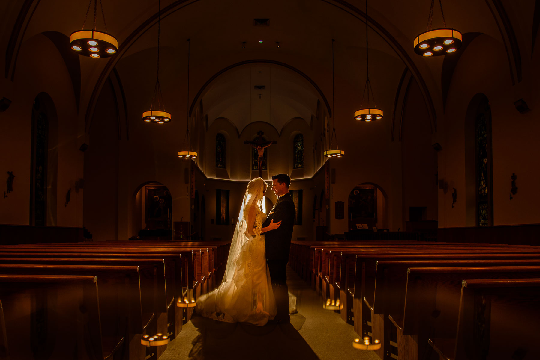The Legacy Castle Wedding bride and groom portrait at church