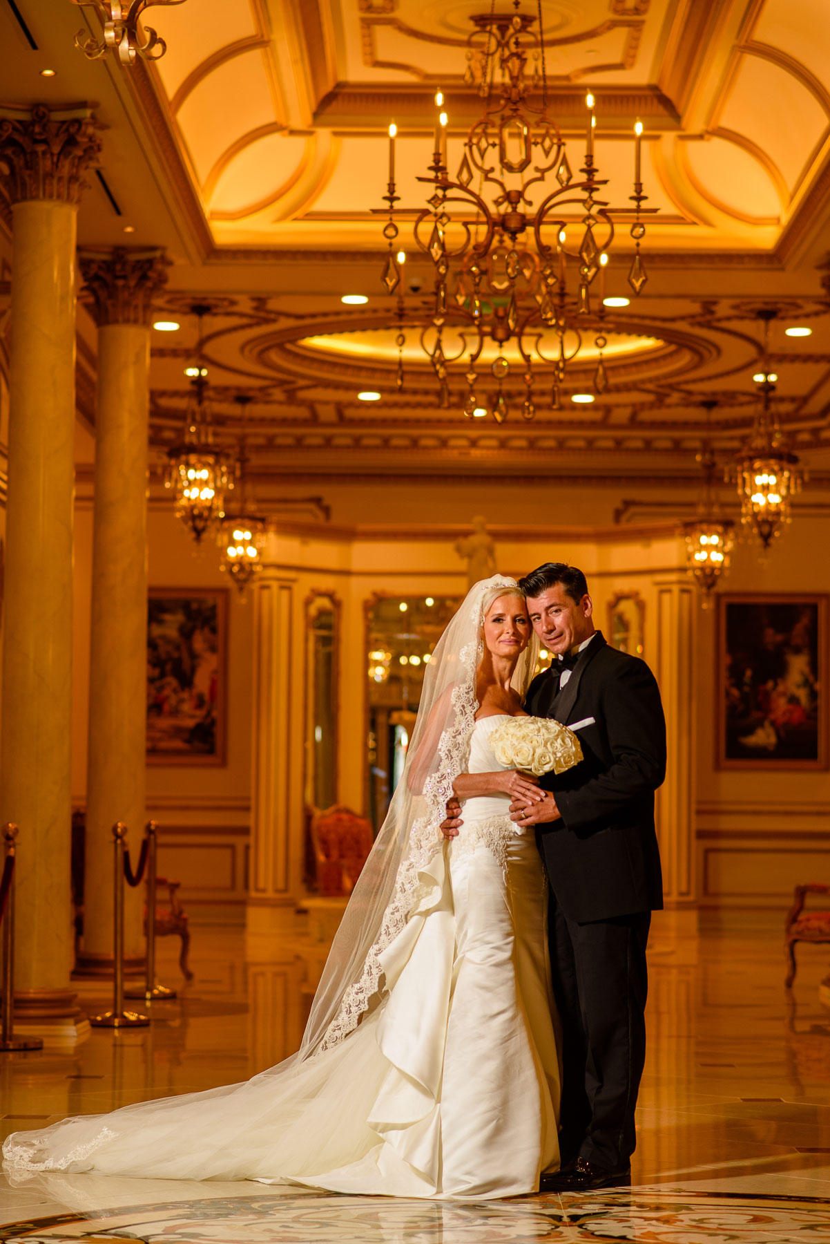 The Legacy Castle Wedding bride and groom portrait in hallway