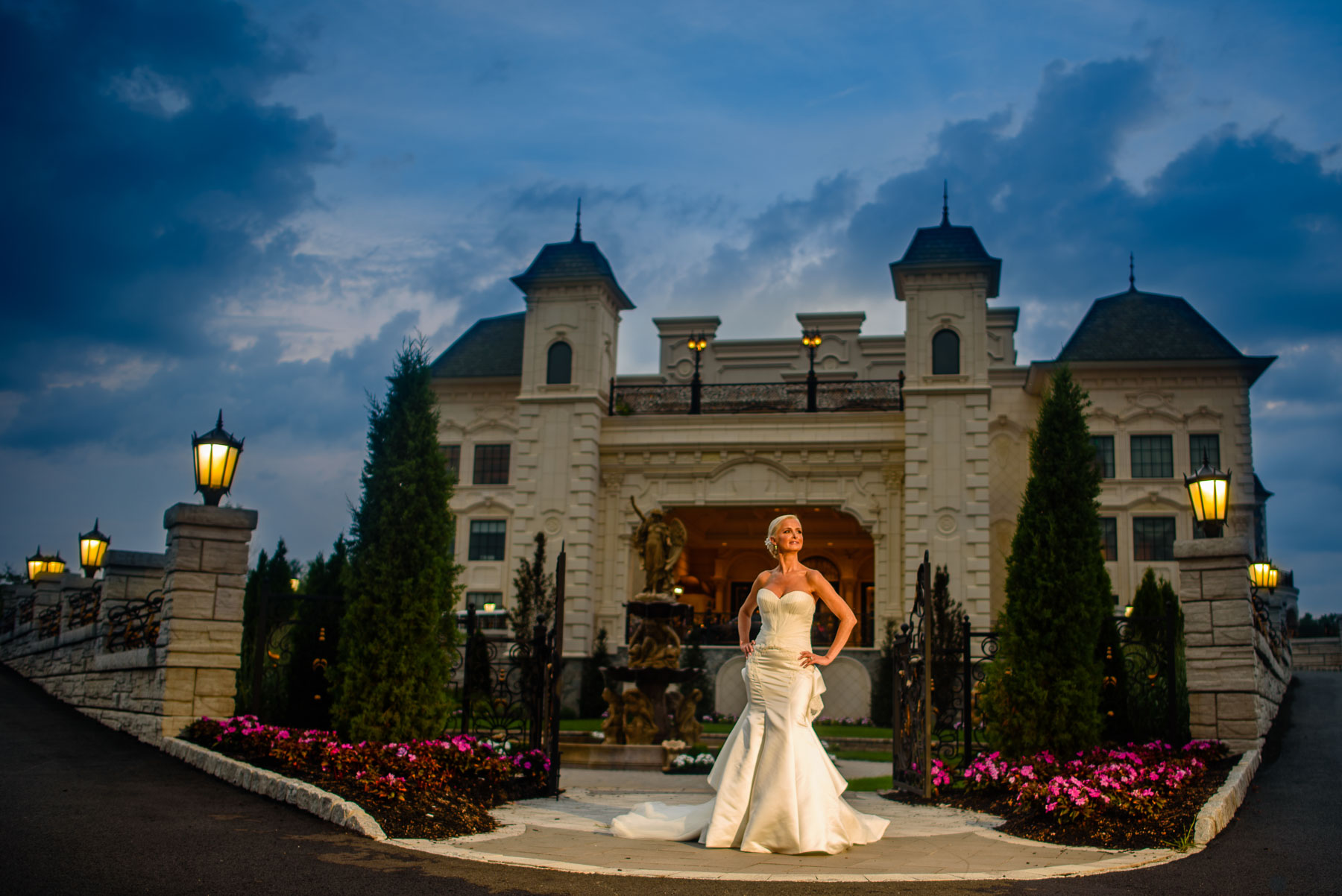 The Legacy Castle Wedding gorgeous bride in front entrance