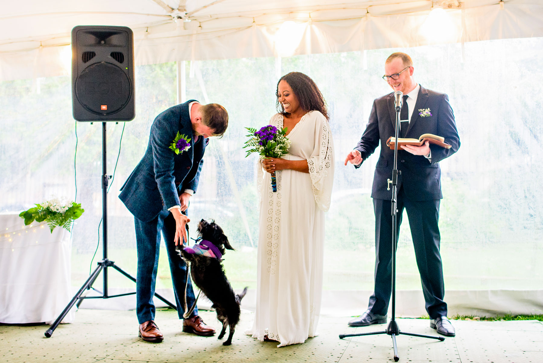 Onderdonk House Wedding  groom high fives his dog ceremony