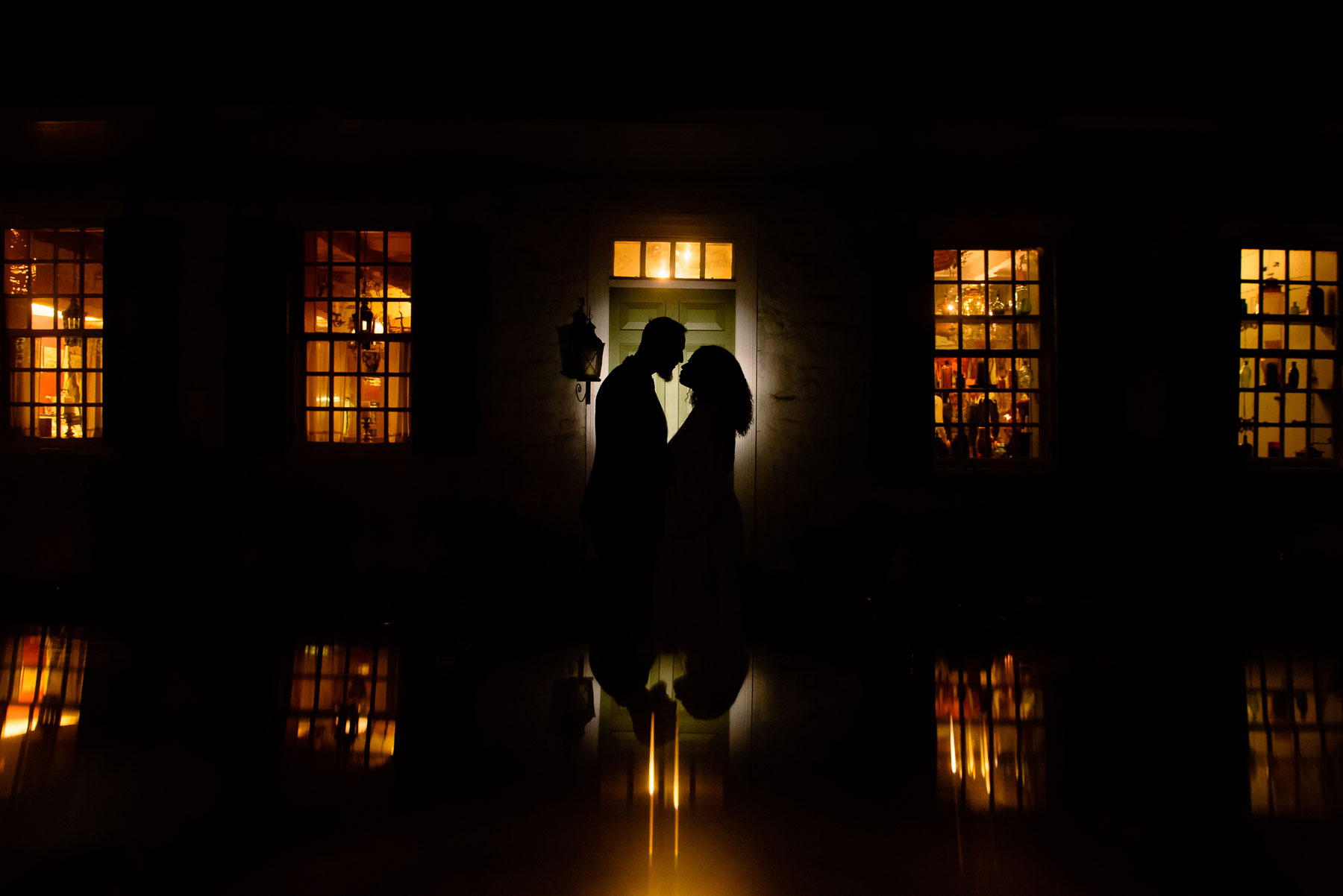 Onderdonk House Wedding outdoor night portrait