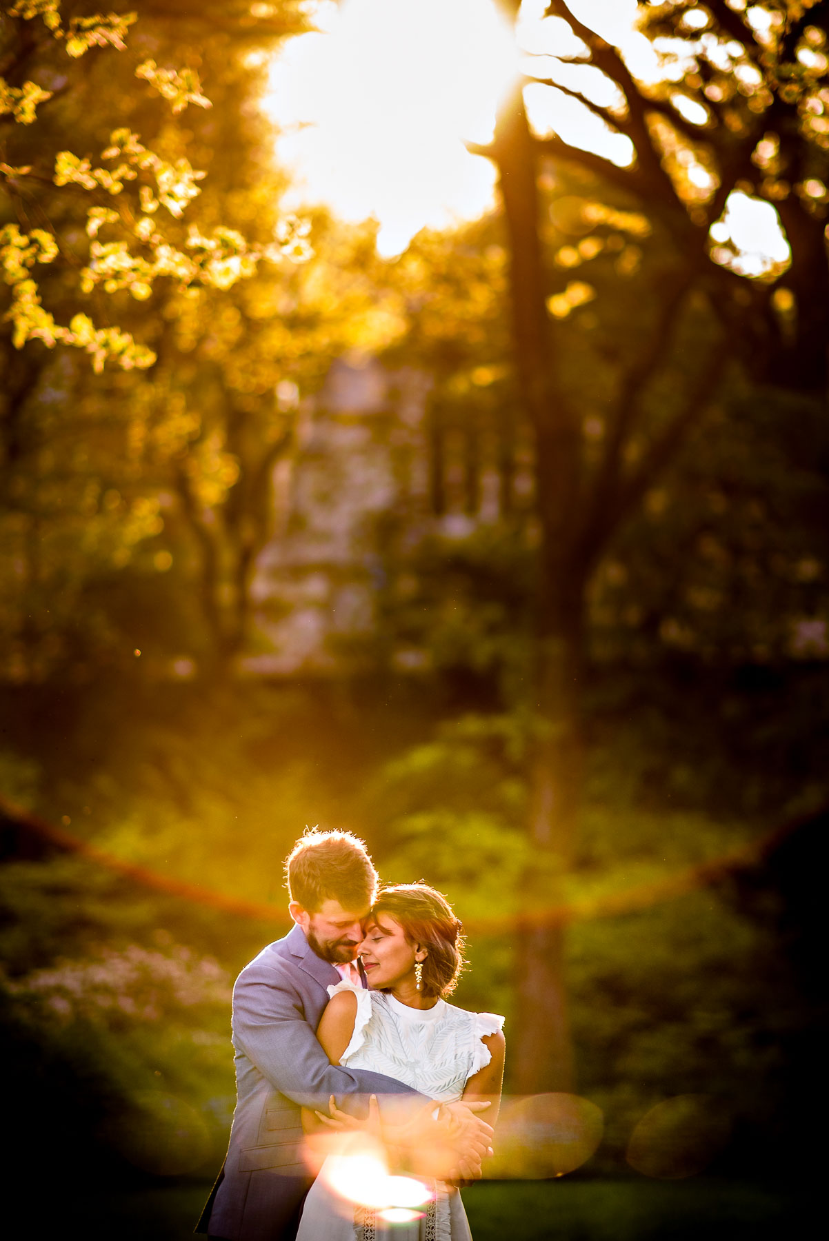 Central Park NYC Wedding bride and groom sunset backlight
