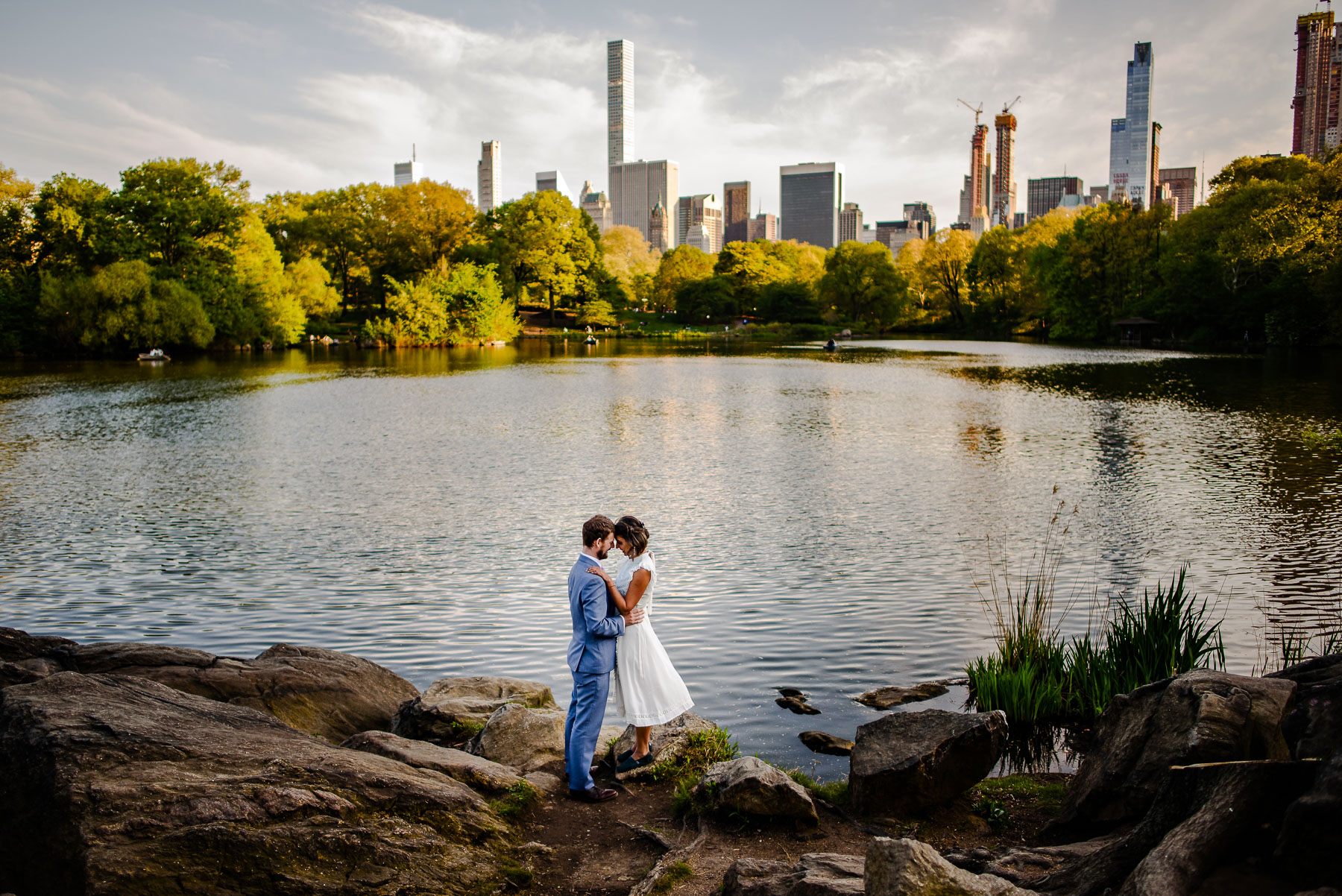 Central Park NYC Wedding lake manhattan view