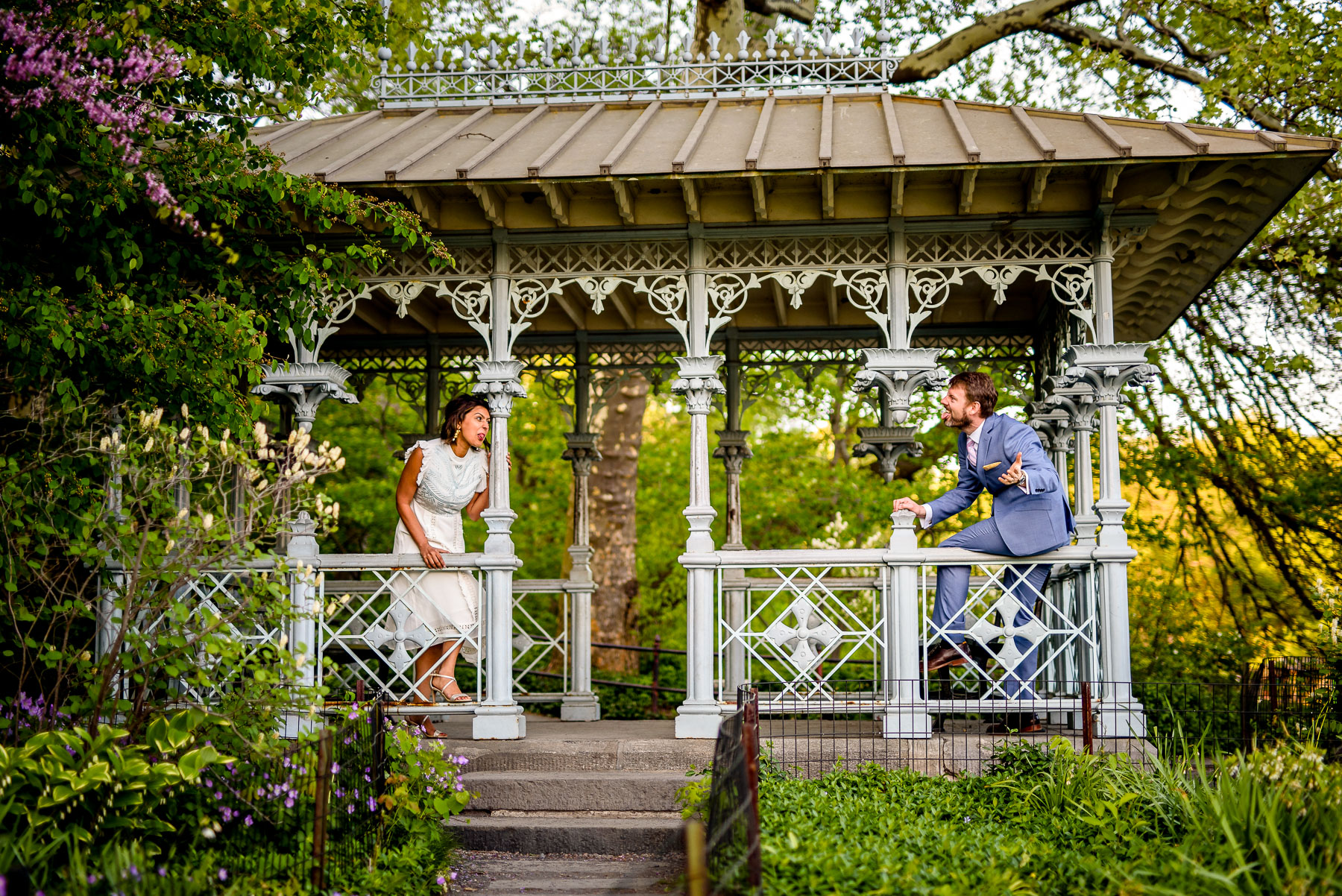 Central Park NYC Wedding ladies pavilion bride and groom fool ar