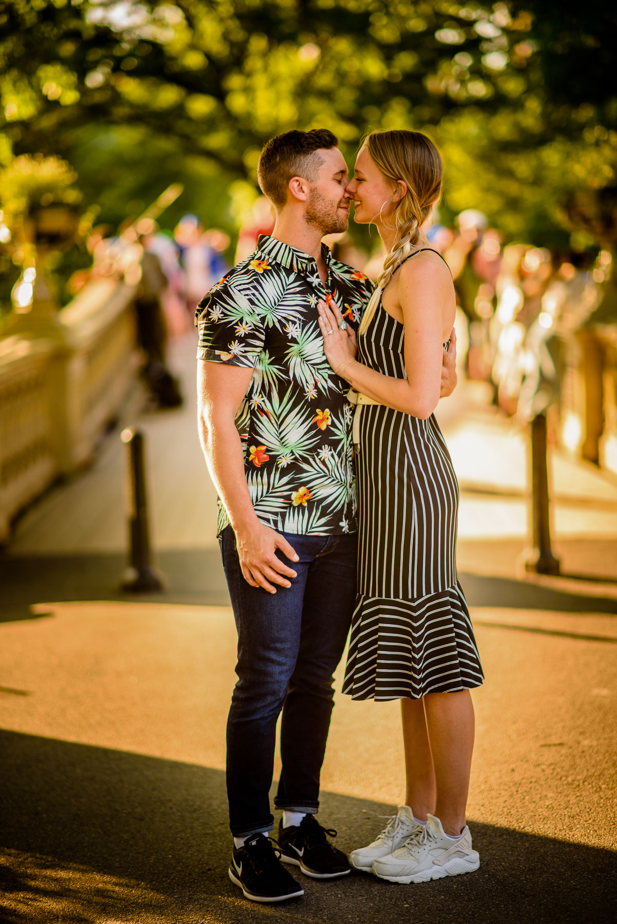 Central Park NYC Proposal Couple Kiss Bow Bridge
