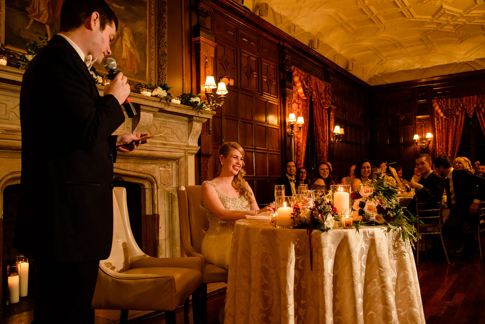 NYIT de Seversky Mansion Wedding groom gives a speech