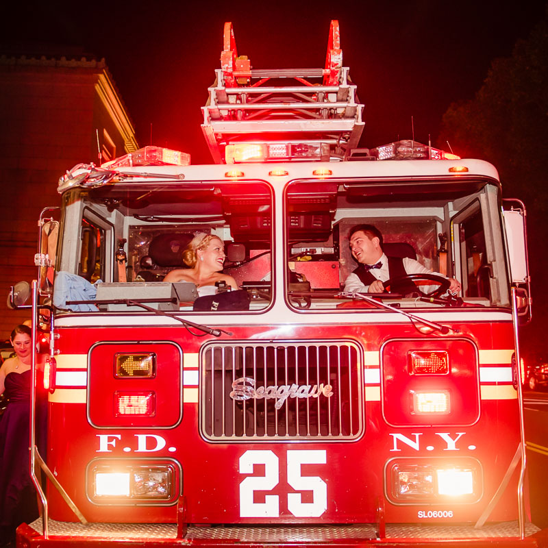 Landmark On the Park Wedding bride groom fire engine