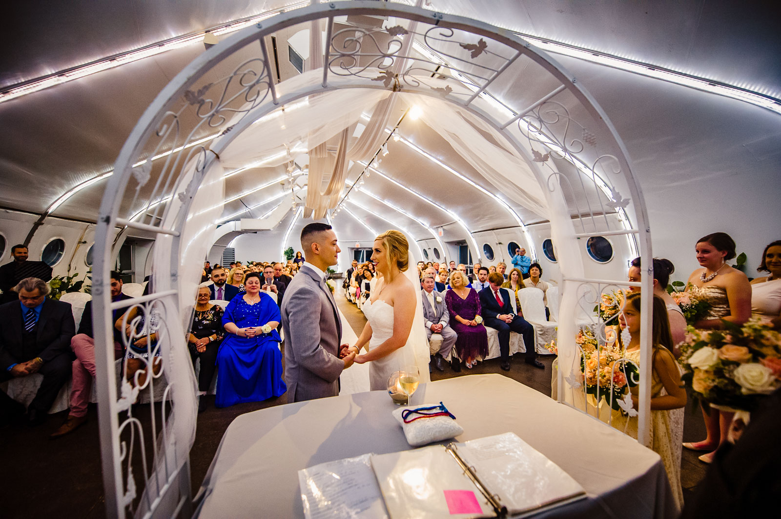 Wedding ceremony under tent