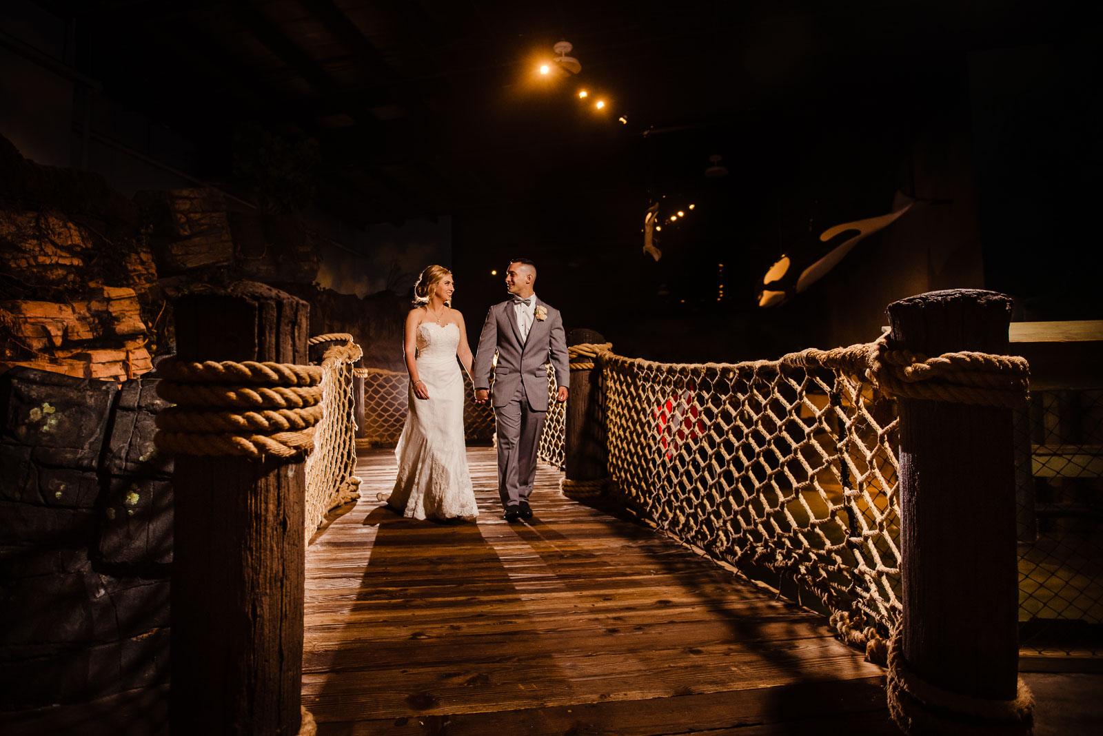 Couple's portrait on a bridge
