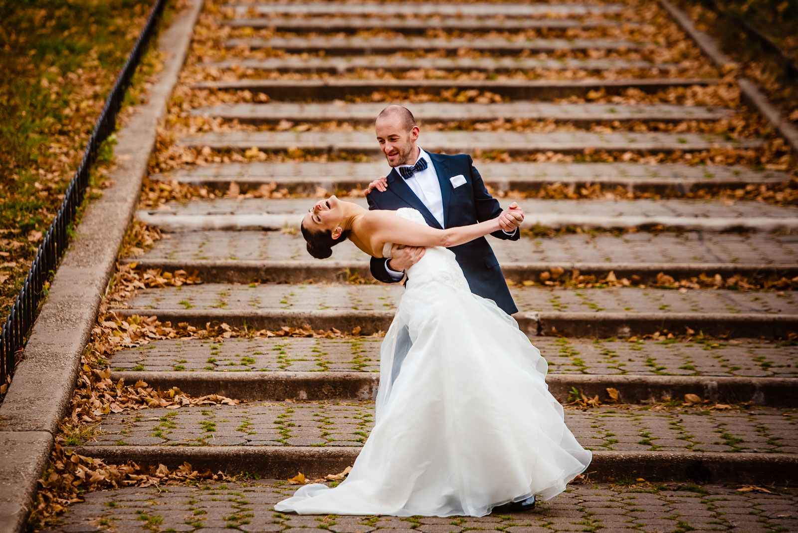 Bride and groom's dance on steps