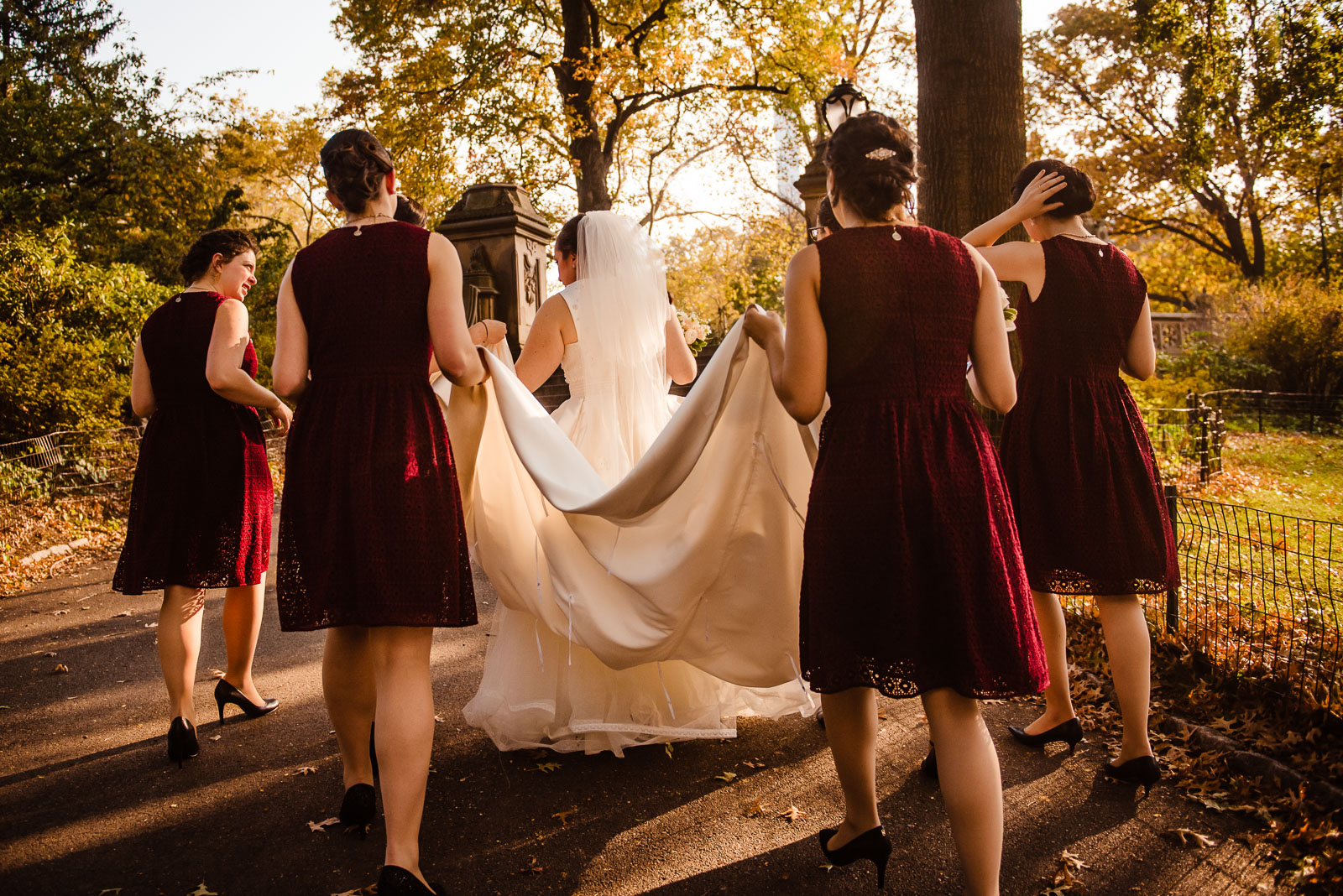 Bride and Bridesmaids at Central Park