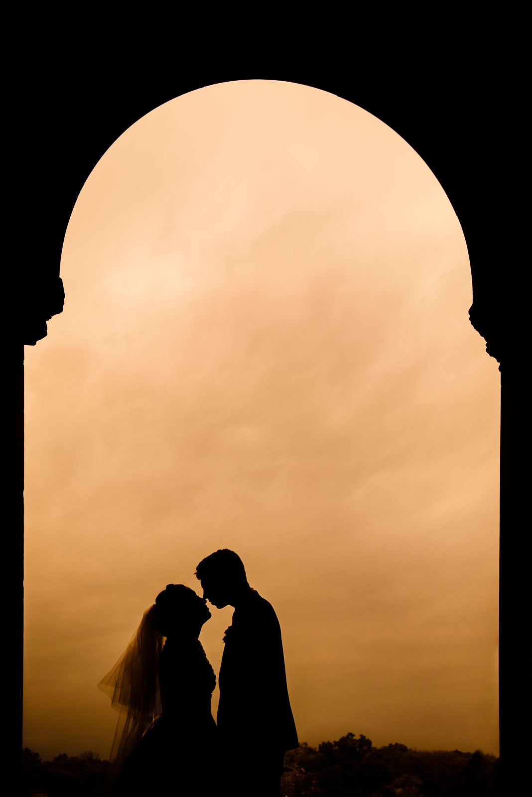 Bride and groom portrait at Bethesda Terrace