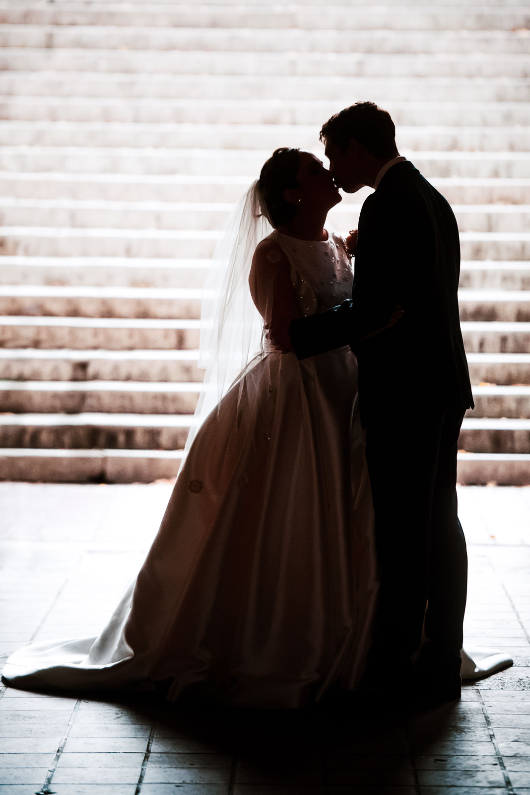 Bride and groom portrait on steps