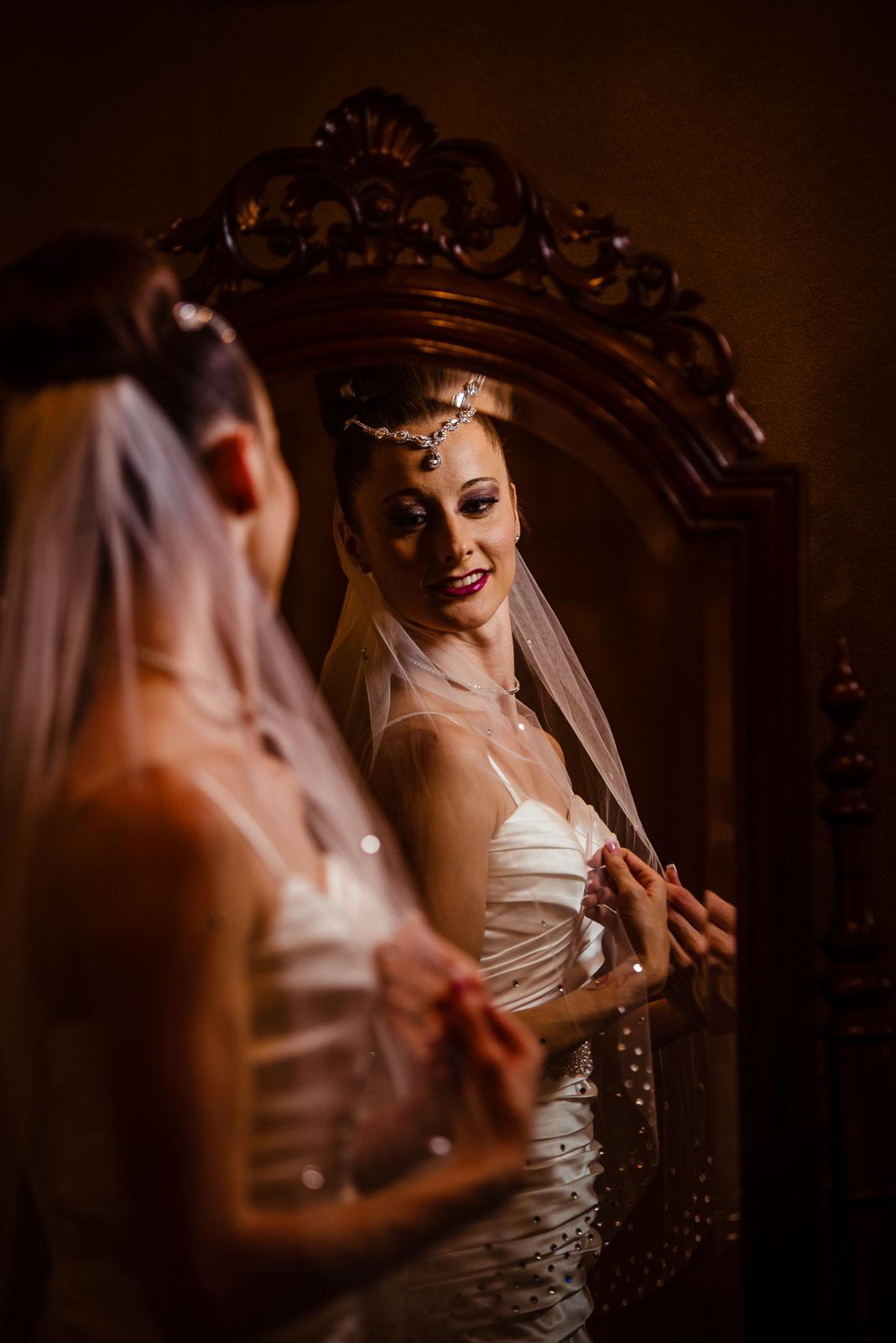 Bride look in mirror