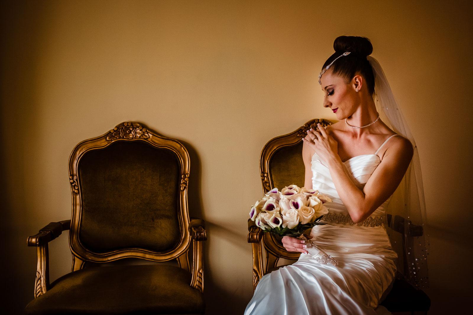 Bride's portrait on chair